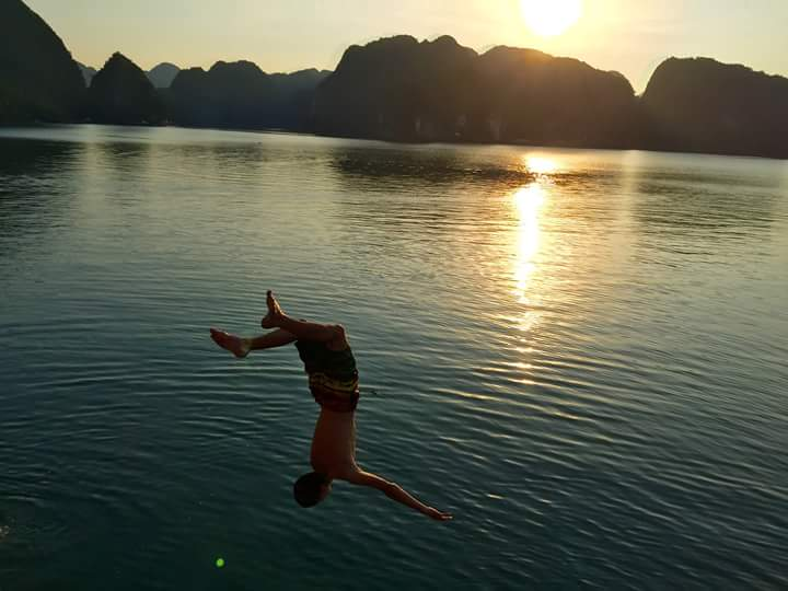 Swimming in Cat Ba island
