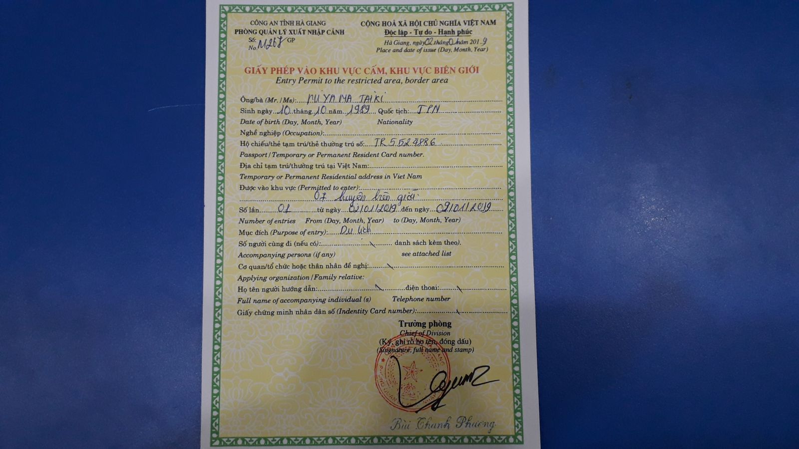 Permit to visit Ha Giang