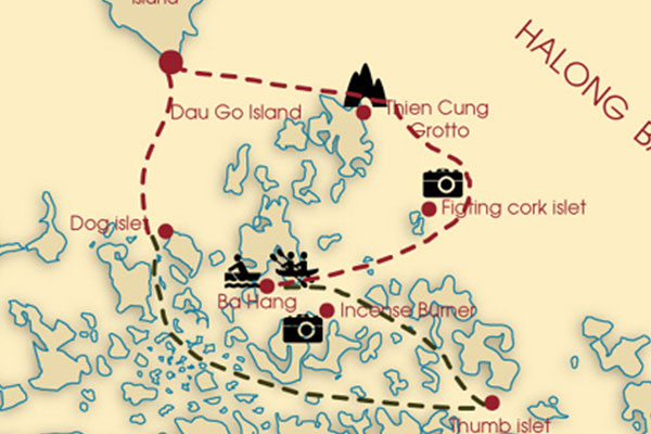 Halong bay day trip on wonder day cruise route