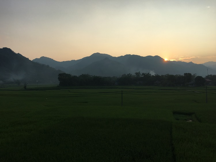 Sun setting in Mai Chau valley